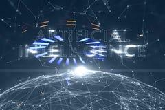 Mot d'intelligence artificielle sur le fond de cyberespace illustration libre de droits