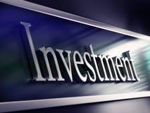 Mot d'investissement, façade de côté, réalisant des placements Photographie stock libre de droits