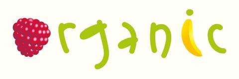 Mot d'isolement organique avec les lettres, la framboise et la banane Logo et concept organiques de nourriture de fruit Image libre de droits