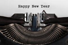 Mot de bonne année écrit par la machine à écrire Photographie stock