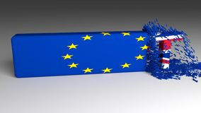 Mot de BREXIT ébréché hors d'un drapeau européen clips vidéos