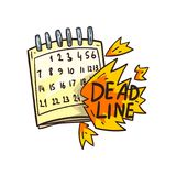 Mot de calendrier et de date-butoir en feu, illustration de vecteur de délai sur un fond blanc Illustration Stock