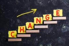 Mot de changement sur des étapes photo libre de droits