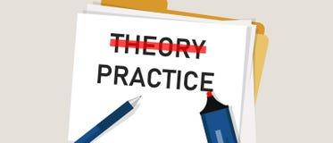 Mot de concept de pratique en matière de théorie en papier avec le marqueur rouge dessus L'illustration de l'exécution d'exécutio illustration de vecteur