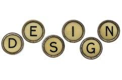 Mot de conception dans des clés de machine à écrire Image libre de droits