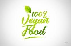mot 100% de feuille de vert de nourriture de vegan sur le fond blanc illustration stock