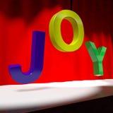 Mot de joie sur l'étape Image stock