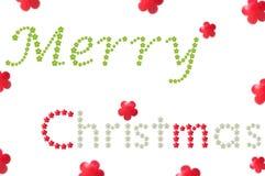 Mot de Joyeux Noël de fruit formé par fleur Image stock