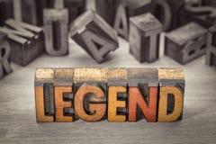 Mot de légende dans le type en bois d'impression typographique Image stock
