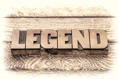 Mot de légende dans le type en bois d'impression typographique de vintage Image libre de droits