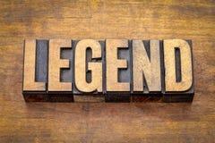 Mot de légende dans le type en bois de vintage Image libre de droits