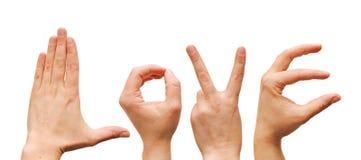 Mot de l'amour des mains humaines Image libre de droits