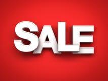 mot de la vente 3d blanche sur le fond rouge avec le rendu de l'ombre 3D Photos libres de droits