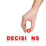 mot de main de décisions Images libres de droits