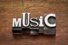 Mot de musique dans le type en métal Photographie stock