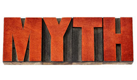 Mot de mythe dans le type en bois d'impression typographique Photographie stock