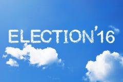 Mot de nuage de l'ÉLECTION 16 sur le ciel Image libre de droits