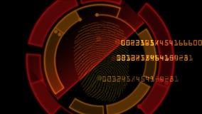 mot de passe de balayage d'identité de l'empreinte digitale 4k, gène de recherche de pirate informatique d'espion ordonnançant la illustration de vecteur