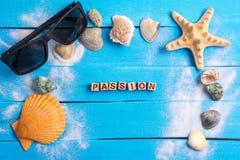 Mot de passion avec le concept d'arrangements d'été images stock