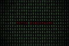 Mot de Petya Ransomware avec le fond foncé de technologie ou noir numérique avec le code binaire dans la couleur vert clair 1001 illustration de vecteur