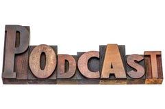 Mot de Podcast dans le type en bois mélangé Photo libre de droits