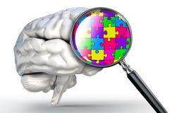 Mot de puzzle sur la loupe et l'esprit humain Photo libre de droits