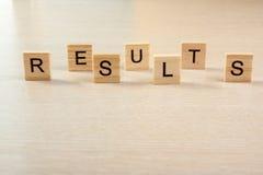 Mot de résultats Réussissez la réussite commerciale, soyez un gagnant dans les élections, scrutin de bruit ou les sports examinen Image libre de droits