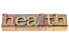 Mot de santé dans le type en bois Image stock