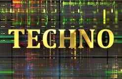 Mot de techno en or avec le fond électronique photo stock