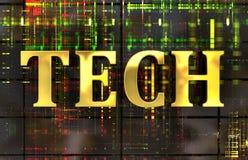 Mot de technologie en or avec le fond électronique Photo stock