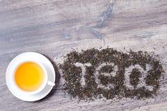 Mot de thé fait de feuilles de thé vertes Images stock