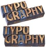 Mot de typographie dans le type en bois Image stock