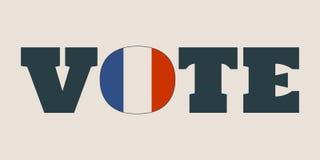 Mot de vote avec le drapeau de Frances Image stock