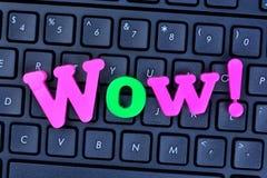 Mot de wow sur le clavier d'ordinateur Image stock
