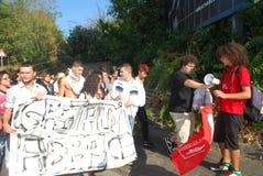 mot demonstrationsgenoa governm italy Royaltyfria Foton