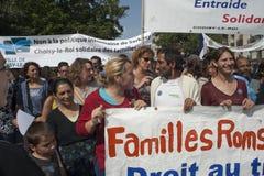 mot den expulsionsparis protesten roma Arkivbild