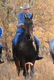 mot den silhouetted cowboyhästryggmontana kanten Arkivbild