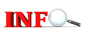 Mot des textes de concept d'INFOS avec la loupe Photographie stock libre de droits