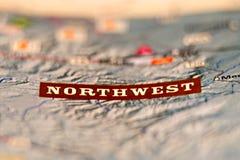 Mot du nord-ouest de carte de secteur Photos stock