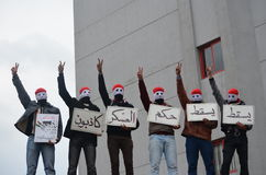 mot egyptisk protestorsscaf Royaltyfri Fotografi