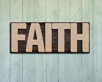 Mot en bois de foi sur le mur images libres de droits