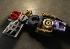 Mot en bois 'Social' de forme de blocs d'impression Images stock