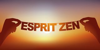 Concept of tranquility with hands holding a banner on which are written the words Zen spirit. stock image