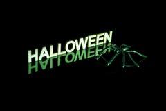 Mot et araignée de Halloween avec la réflexion sur le noir images libres de droits