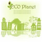 mot för översiktssky för gröna hus trees Royaltyfri Bild