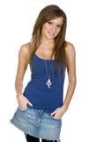 mot för flickavest för bakgrund blå white Royaltyfri Fotografi