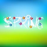 Mot, fleurs et papillons de ressort Image libre de droits