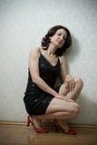 mot härlig väggkvinna Fotografering för Bildbyråer