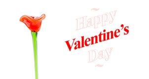 Mot heureux de jour de valentines avec la fleur en verre rouge sur le backgro blanc Photo stock