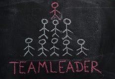 Mot humain de pyramide et de teamleader d'équipe sur le tableau noir Photos libres de droits